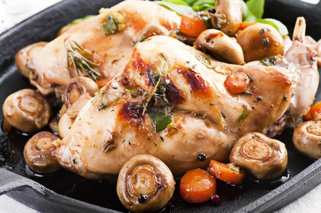 black dish: Rabbit ragout Stock Photo