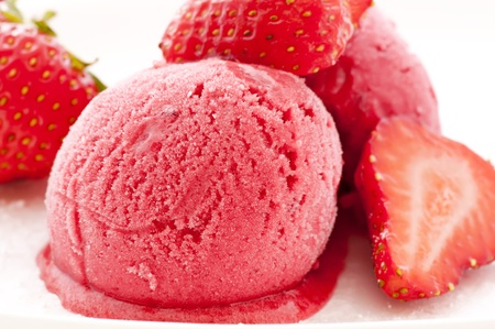 sorbet: Strawberry ice with Strawberries Stock Photo