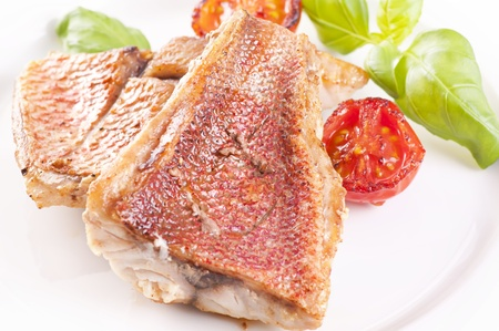 exotically: Red snapper steak Stock Photo