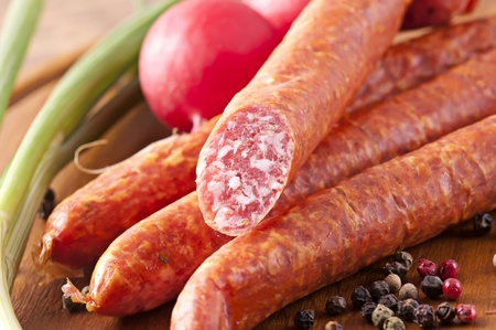 dry sausage: Dry Sausage Stock Photo