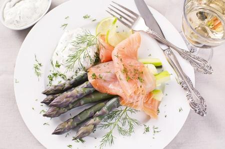 Asparagus with Smoked salmon photo