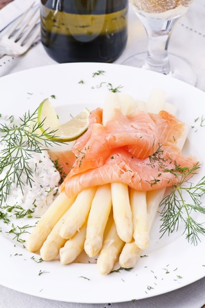 smoked salmon: Asparagus with smoked salmon Stock Photo