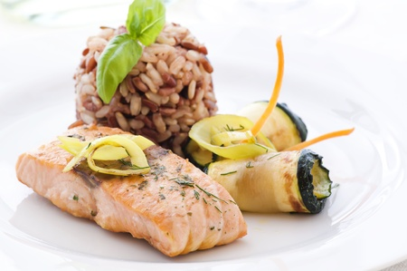 wild rice: Salmon with Rice and Vegetable Stock Photo