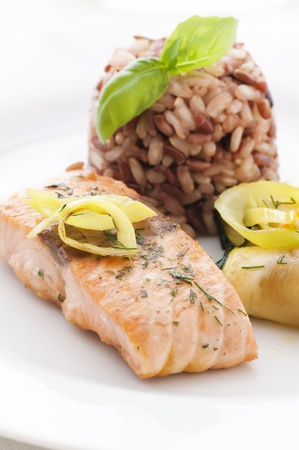 Salmon with Rice and Vegetable photo