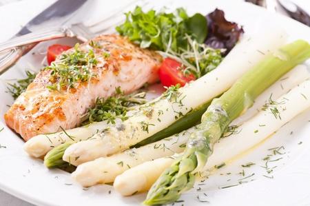 Asparagus with salmon photo