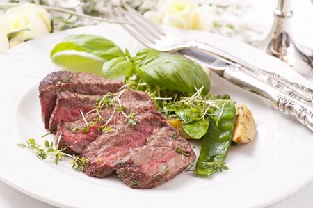 schnitzel: beef steak medium cut with vegetable Stock Photo
