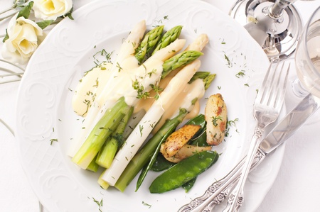 snaps: Asparagus with potato and sugar snaps