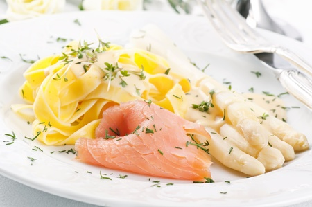 low relief: Asparagus with Pasta nad smoked salmon Stock Photo