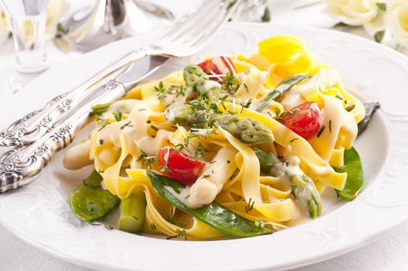 Paglia e Fieno with  vegetable and sauce  Stock Photo - 10131119