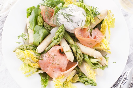 Asparagus salad with smoked salmon photo