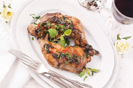 Chicken legs roasted with fresh herbs  photo