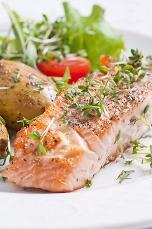 grilled salmon: Roasted salmon steak with jacket potato