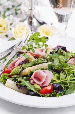 Rocket salad with ham and asparagus tips 스톡 콘텐츠