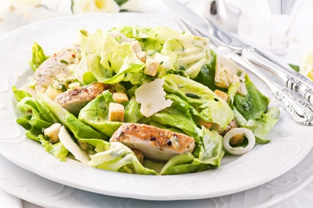 caesar salad: Caesar Salad with chicken fillet