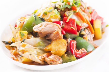 chicken sweet sour with vegetable photo