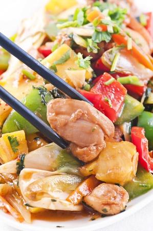 calabacin: Pollo agridulce con verduras