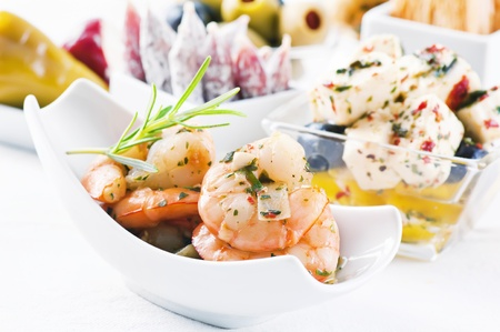 spanish tapas: Spanish Tapas with seafood and pickled feta