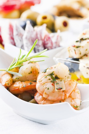 spanish tapas: Spanish tapas with seafood and dry sausages  Stock Photo