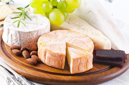 food buffet: Cheese plate Stock Photo