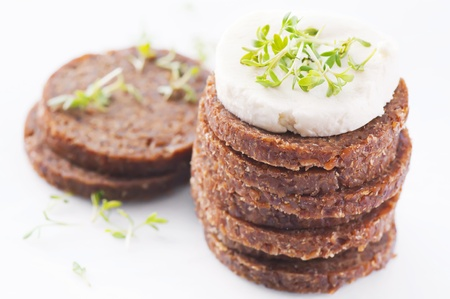 diat product: rye bread with goat cheese