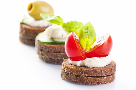 canapes: canapes with cheese and venetables Stock Photo
