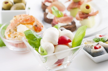 Antipasto with caprese, canapes and seafood photo