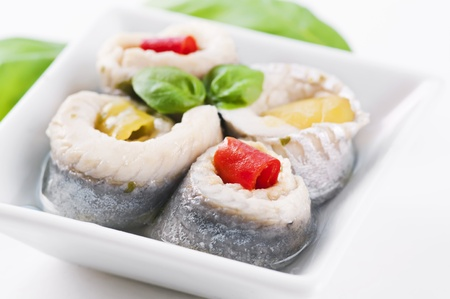 anchovy fish: pickled fish rolls filled with paprika