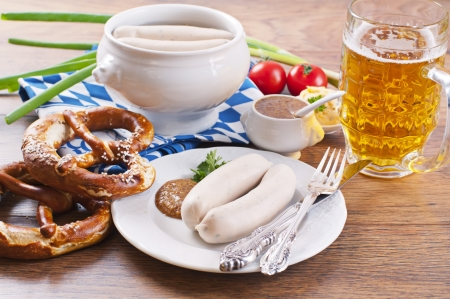 obazda: traditional Munich breakfast with white sausages