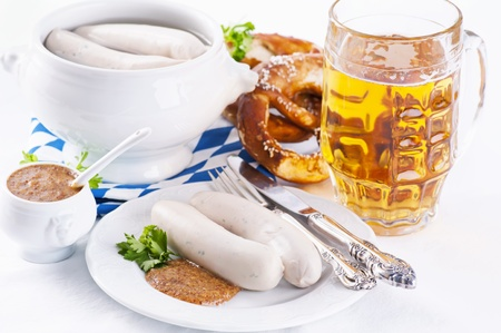 obazda: Munich breakfast with white sausages and beer Stock Photo