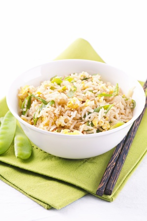 basmati: Fried rice with eggs and spring onion