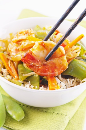 Prawns sweet-sour with vegetable and rice photo
