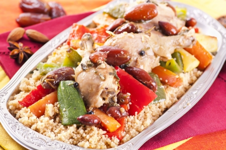 kuskus: couscous with chicken and vegetable