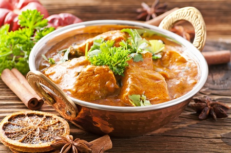 exotically: Fish curry in copper bowl