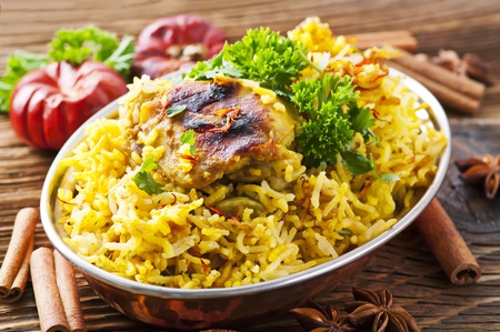 biryani: Chicken biryani with spices