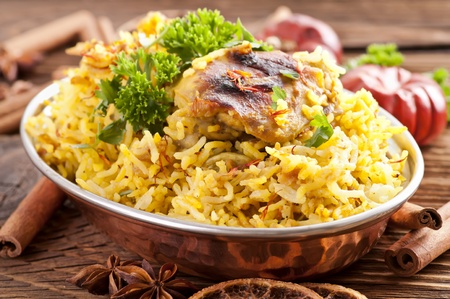 chicken rice: Chicken Biryani