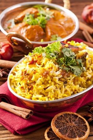 Indian meal with biryani and  curry photo