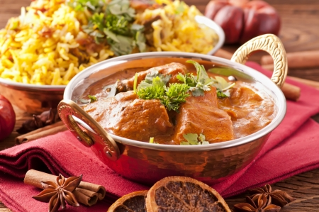 Indian meal with curry and biryani photo