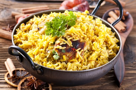 biryani: chicken biryani in small wok Stock Photo