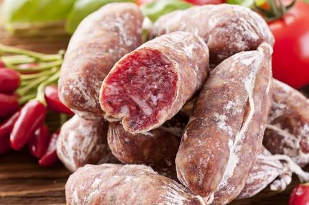 air dried salami: Italian salami as close up