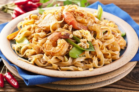 Pad Thai with shrimps and eggs photo