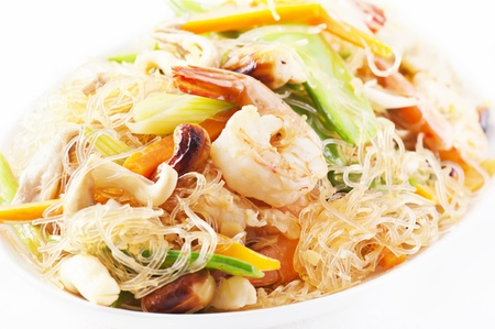 cellophane noodles stir-fried with shrimps and vegetables photo