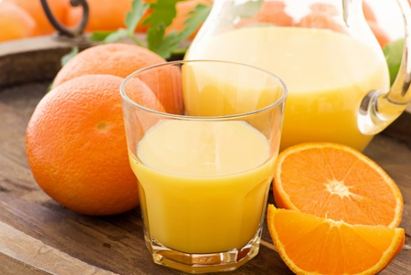 orange juice: Orange Juice with Pitcher Stock Photo