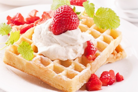 traditionally french: WAffles with strawberry Stock Photo