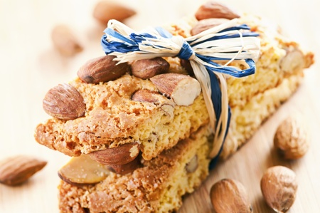 Cantucci with almond on the wooden table photo