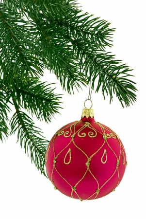 free christmas: Christmas Bauble on Christmas Tree