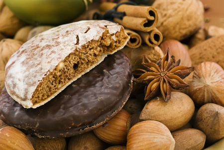 cobnut: Gingerbread with Decoration Stock Photo