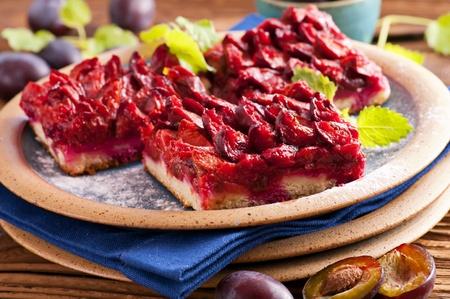 german swiss: Plum cake with fresh plums Stock Photo