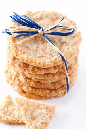 bickie: oatmeal cookies isolated as closeup Stock Photo