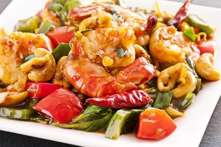Prawns stir fried with chili photo
