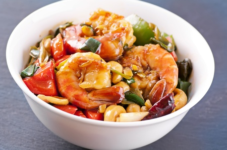 chilli sauce: Prawns sweet sour with vegetable Stock Photo